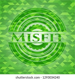 Misfit green emblem with mosaic ecological style background