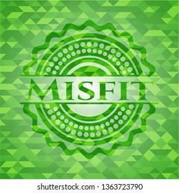 Misfit realistic green emblem. Mosaic background