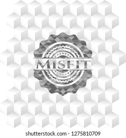 Misfit realistic grey emblem with cube white background