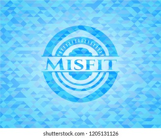 Misfit realistic light blue emblem. Mosaic background