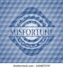 Misfortune blue emblem or badge with abstract geometric pattern background. Vector Illustration. Detailed.