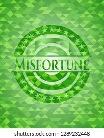 Misfortune green emblem with mosaic background