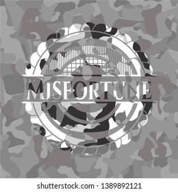 Misfortune grey camo emblem. Vector Illustration.