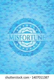 Misfortune realistic sky blue emblem. Mosaic background