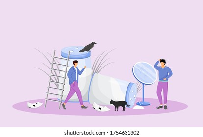 Misfortune signs and bad omens flat concept vector illustration. Young men in trouble, people with bad luck 2D cartoon characters for web design. Common superstitions, irrational beliefs creative idea