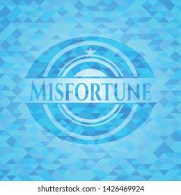 Misfortune sky blue emblem with mosaic ecological style background