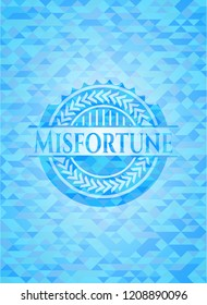 Misfortune sky blue emblem with triangle mosaic background