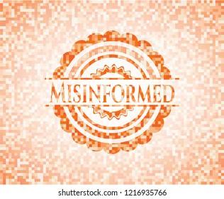 Misinformed abstract orange mosaic emblem