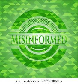 Misinformed green emblem. Mosaic background