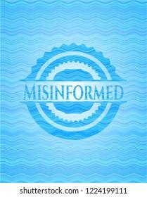 Misinformed light blue water wave emblem.
