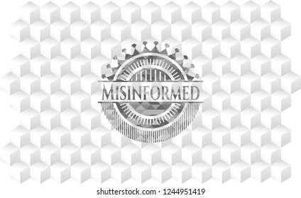 Misinformed realistic grey emblem with cube white background