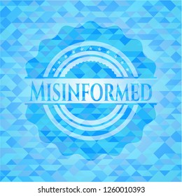 Misinformed sky blue emblem with mosaic background