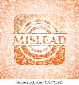 Mislead abstract emblem, orange mosaic background