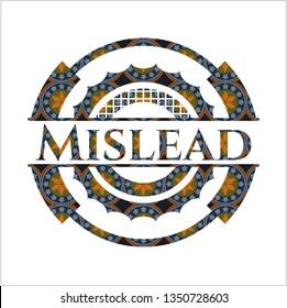 Mislead arabic style emblem. Arabesque decoration.