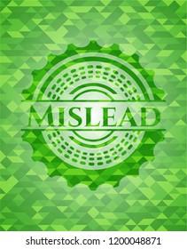 Mislead green emblem. Mosaic background