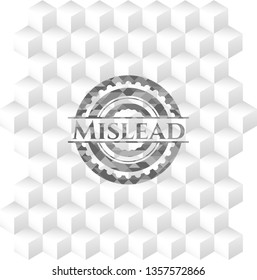 Mislead grey emblem. Vintage with geometric cube white background