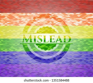 Mislead on mosaic background with the colors of the LGBT flag