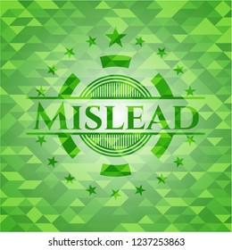 Mislead realistic green emblem. Mosaic background
