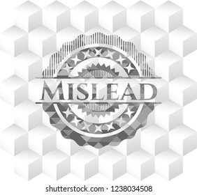 Mislead realistic grey emblem with geometric cube white background