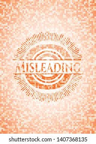 Misleading abstract emblem, orange mosaic background