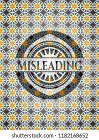Misleading arabesque emblem background. arabic decoration.