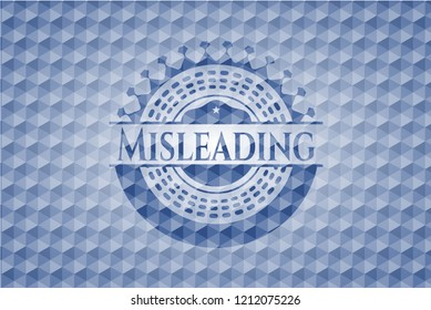 Misleading blue emblem or badge with abstract geometric pattern background.