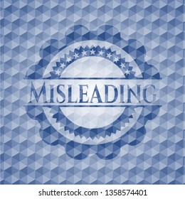 Misleading blue emblem or badge with abstract geometric polygonal pattern background.