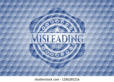 Misleading blue polygonal badge.