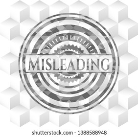 Misleading grey emblem with geometric cube white background