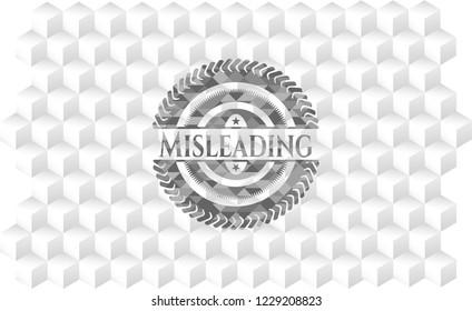 Misleading realistic grey emblem with cube white background