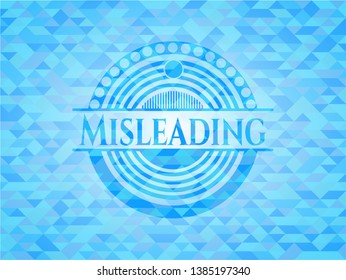 Misleading realistic light blue emblem. Mosaic background