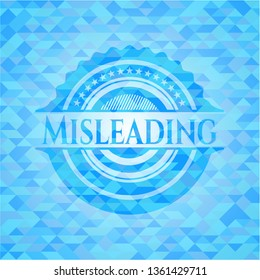 Misleading realistic sky blue emblem. Mosaic background