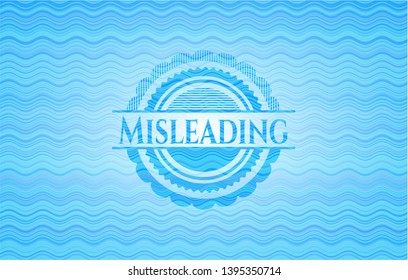Misleading sky blue water emblem. Vector Illustration. Detailed.