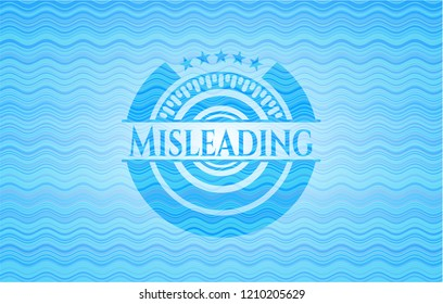 Misleading sky blue water wave style badge.