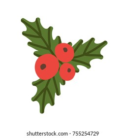 Misletoe red berries and green leaves colorful icon isolated on white. Vector illustration with fresh foliage and three round different sized fruits