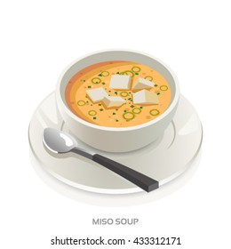 Miso soup bowl-Japanese soup vector