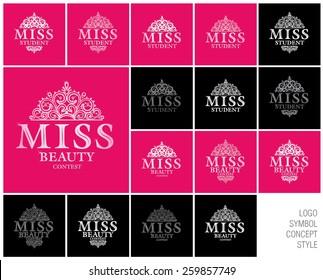 Miss beauty contest. Tiara, diadem, crown, coronet. Logo, art, design, concept, style, vector. Woman, girl, lady, student community. fashion