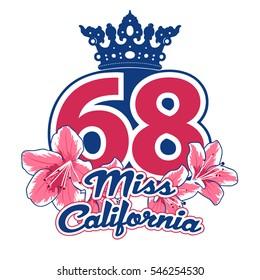 Miss California vector T-shirt design