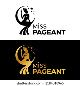 Miss lady pageant logo sign with Gold and black woman wear Crown sit on the moonn and star vector design
