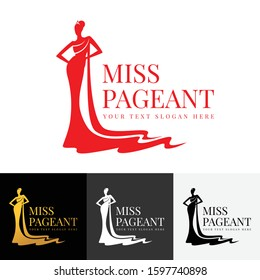 miss pageant logo with Beautiful lady evening gown and crown vector design