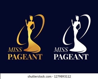 Miss pageant logo sign with Beauty queen wear a crown and motion hand Gold and white style vector design