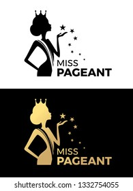 Miss pageant logo sign with Beauty queen wear a crown and  hold star vector design