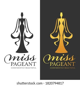 miss pageant logo sign - black and gold woman queen with cape vector design