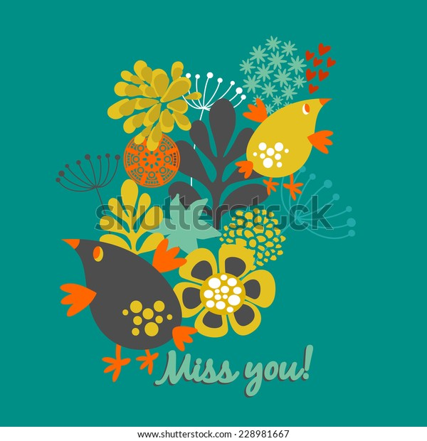 Miss You Card Cover Floral Illustration Stock Vector Royalty Free 228981667