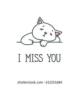 I miss you. Doodle vector illustration of sad white cat isolated on white background