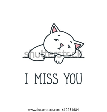 Miss You Doodle Vector Illustration Sad Stock Vector Royalty Free