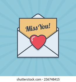 Miss You! letter with heart shape in flat style. Vector illustration.