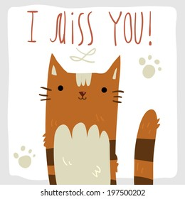 I Miss You postcard. Vector hand drawn illustration of tiny cute red orange striped cat. For ui, games, and patterns.