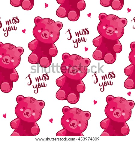 Miss You Seamless Pattern Cute Teddy Stock Vector Royalty Free