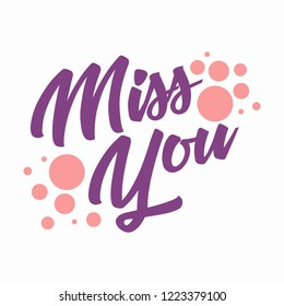 Miss you Vector lettering for farewell party
